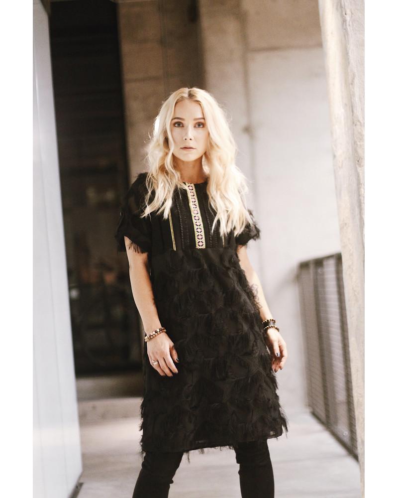 ETHNIC FRINGE DRESS BLACK