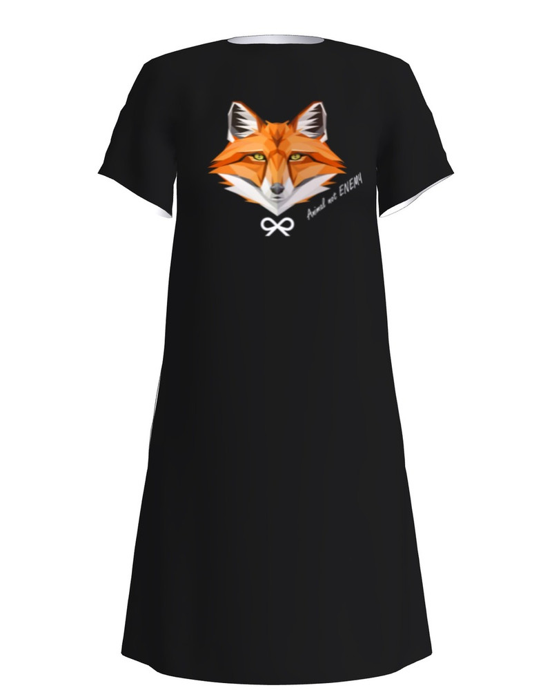 ANIMAL NOT ENEMY FOX DRESS BLACK