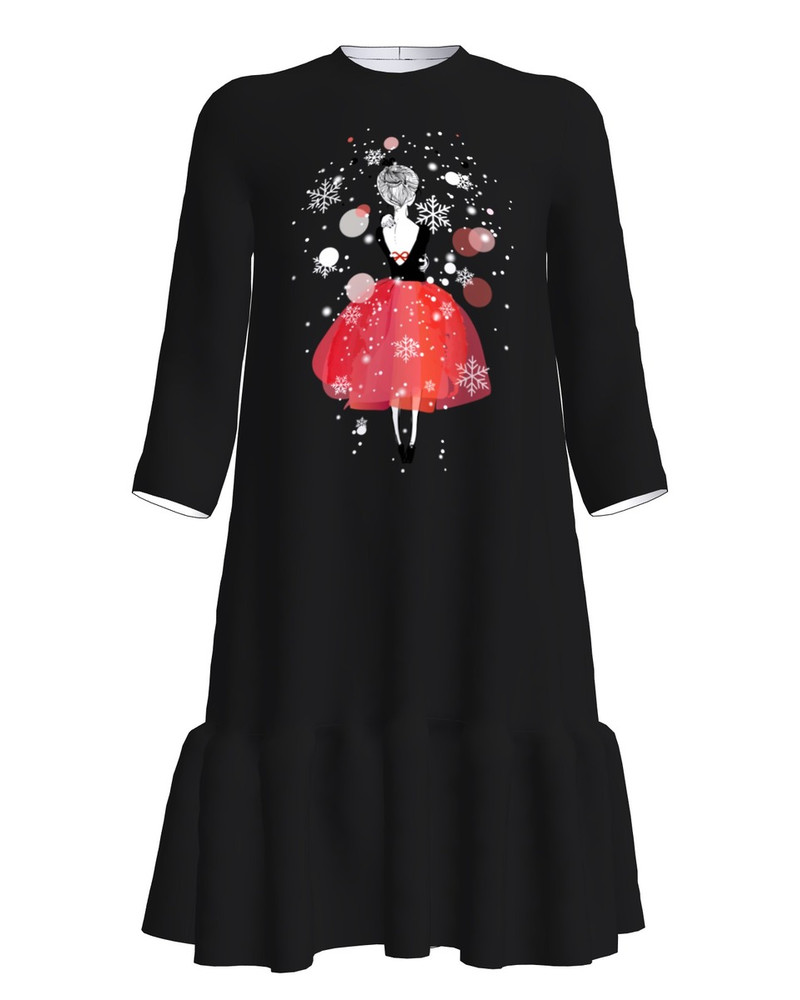 CHRISTMAS GIRL PRINT FRILL DRESS BLACK