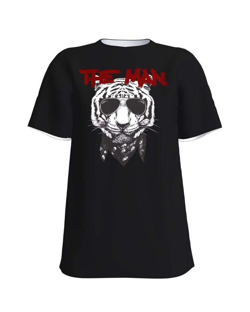 THE MAN TIGER BLACK PRINT T-SHIRT