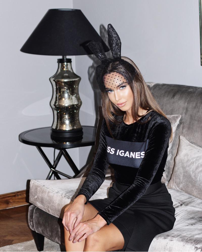 MISS IGANES VELVET SHIRT BLACK