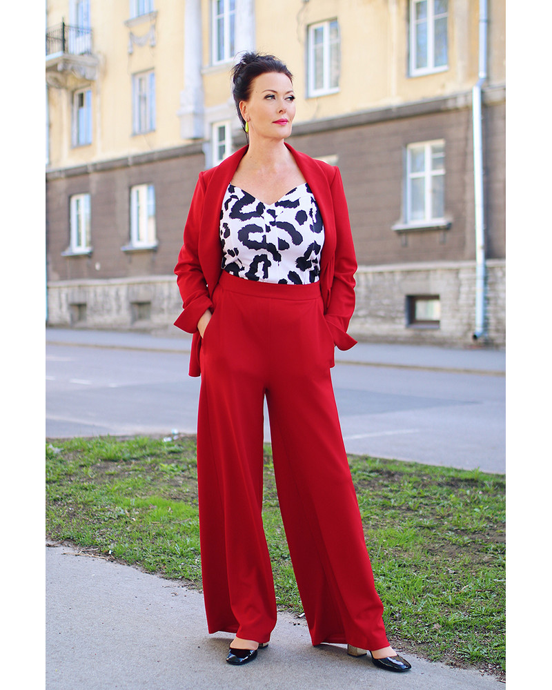 RED JACKET &  WIDE TROUSERS