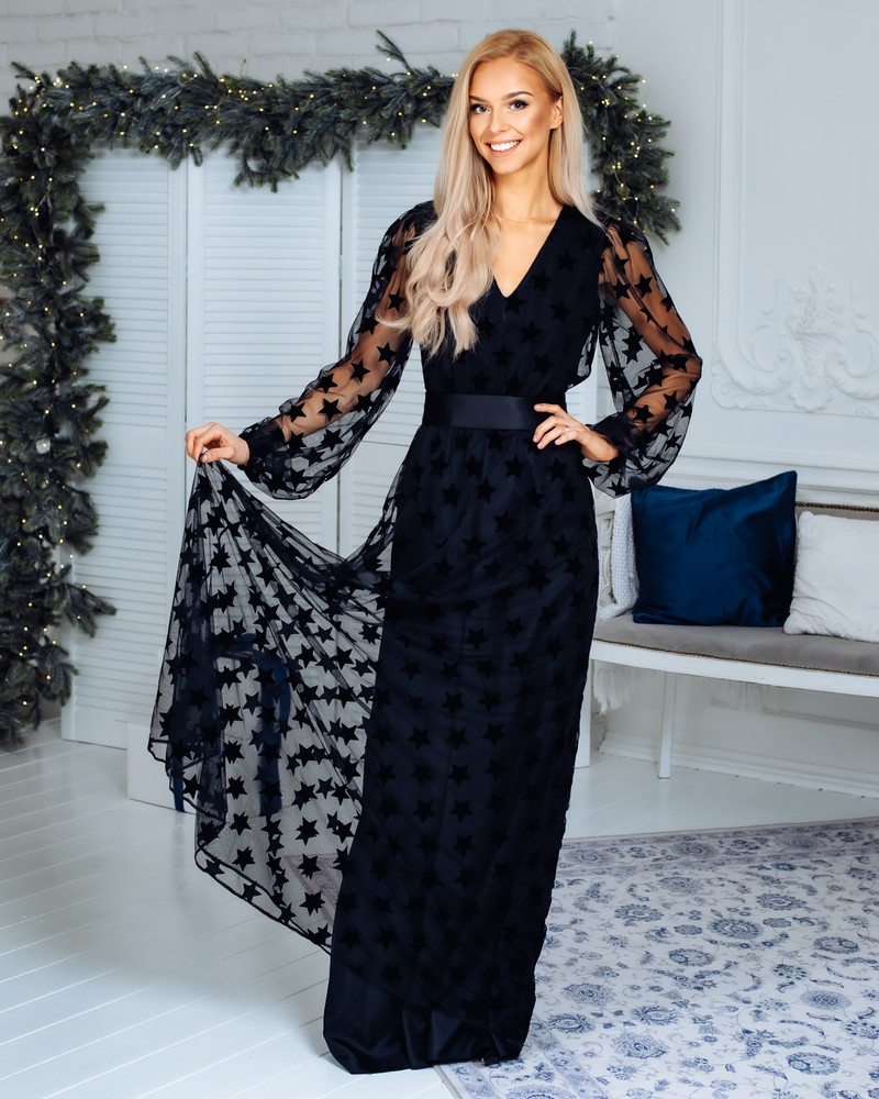 COMET STAR MESH SLEEVES MAXI DRESS BLACK