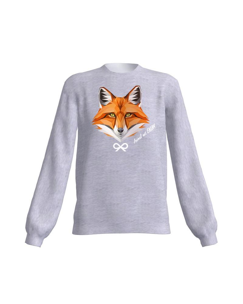 ANIMAL NOT ENEMY FOX SWEATSHIRT LIGHT GREY