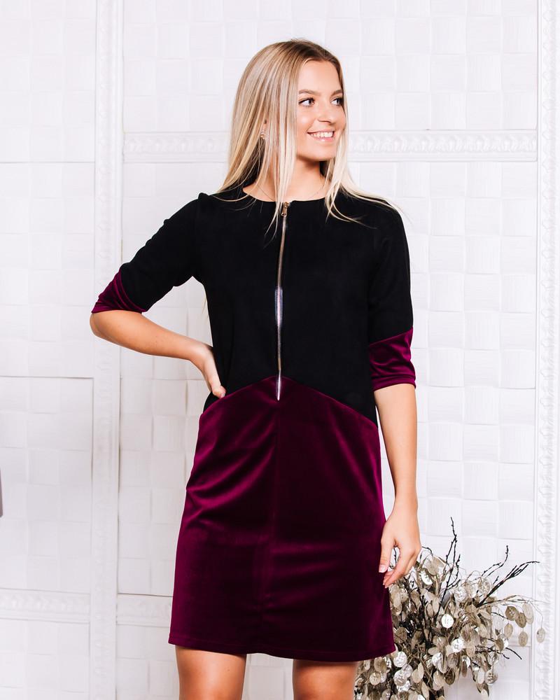 BLACK BORDEAUX VELVTE ZIPPER DRESS