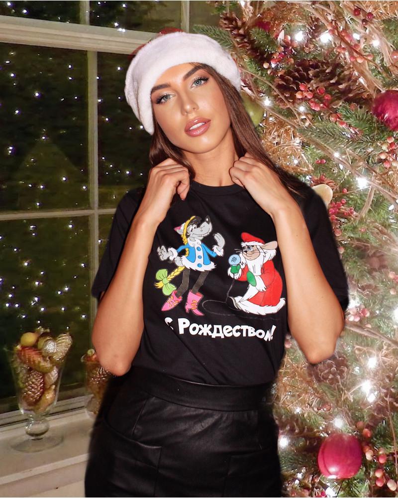 CHRISTMAS BLACK UNISEX PRINT T-SHIRT