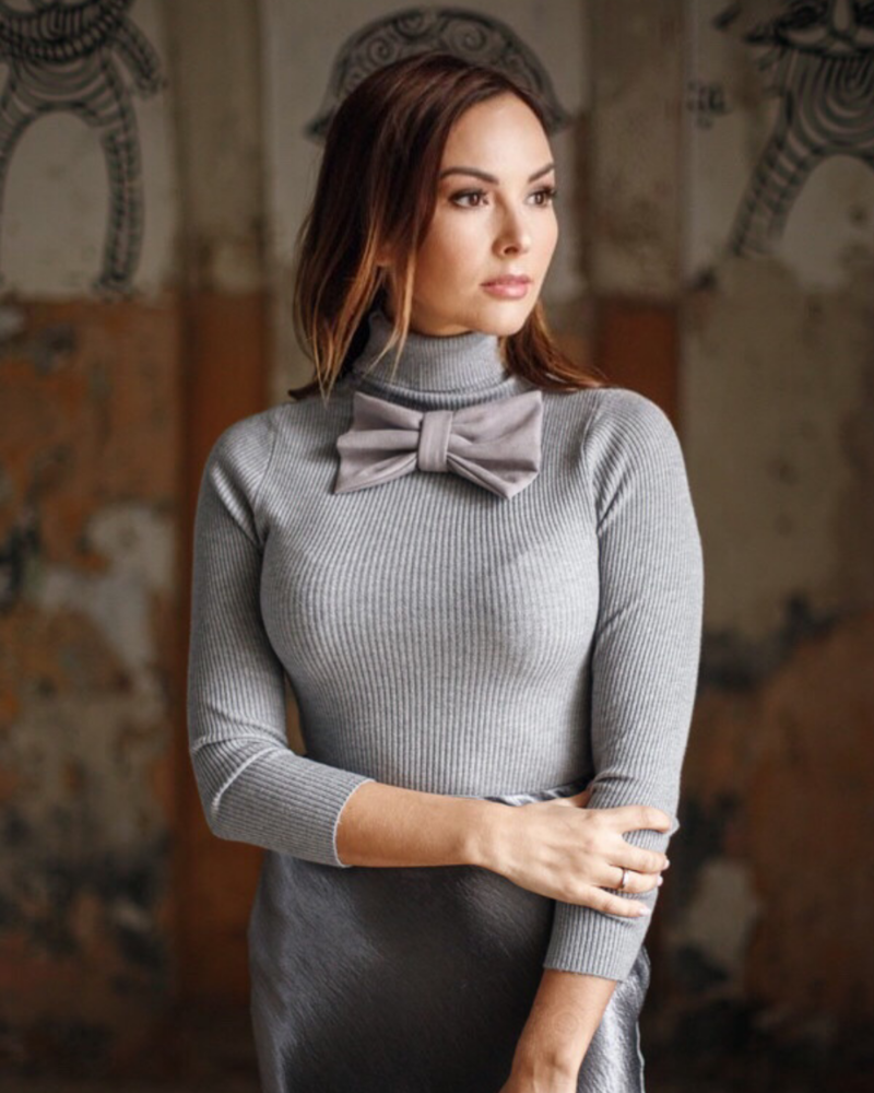 KNIT BOW PULLOVER GREY