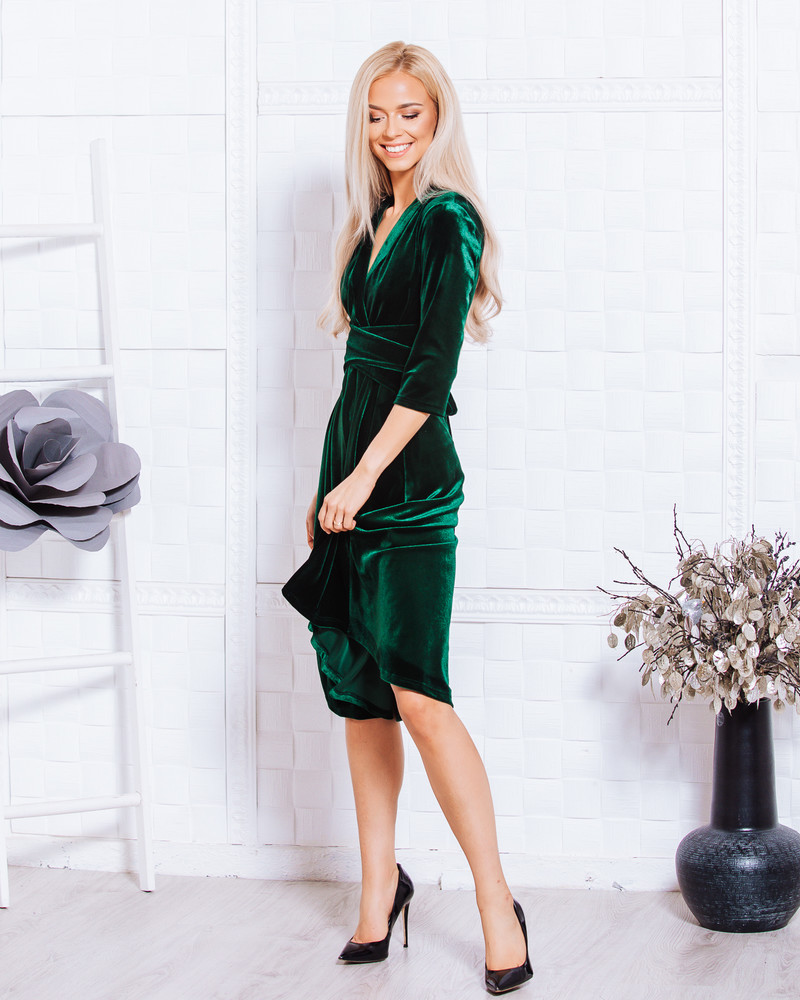 ELEGANT DRESS VELVET GREEN
