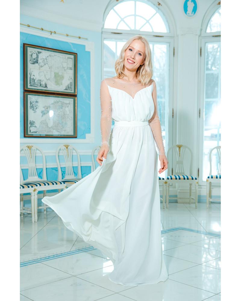 WHITE DREAMY PEARL MAXI DRESS