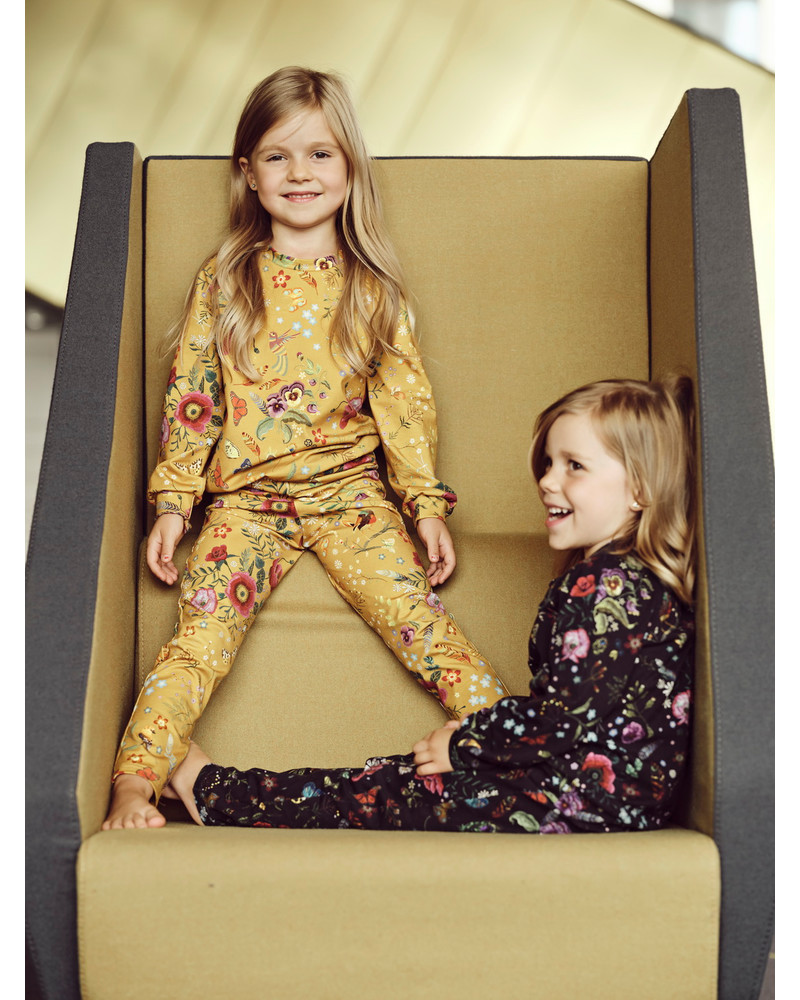 MUSTARD & PINK KIDS FLOWER SWEATEPANTS 2 SET