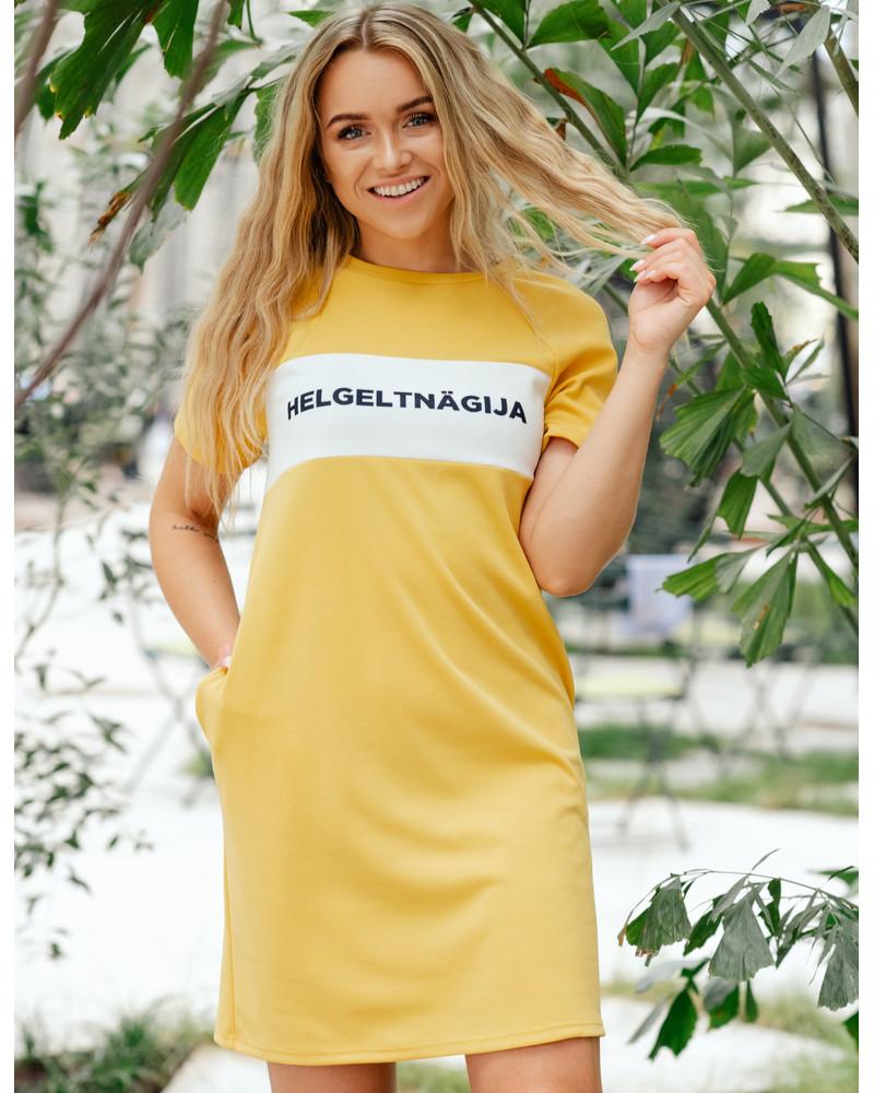 HELGELTNÄGIJA RAGLAN DRESS YELLOW
