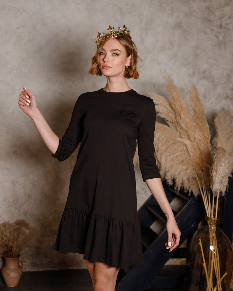 GOLD ANGEL PRINT FRILL DRESS BLACK