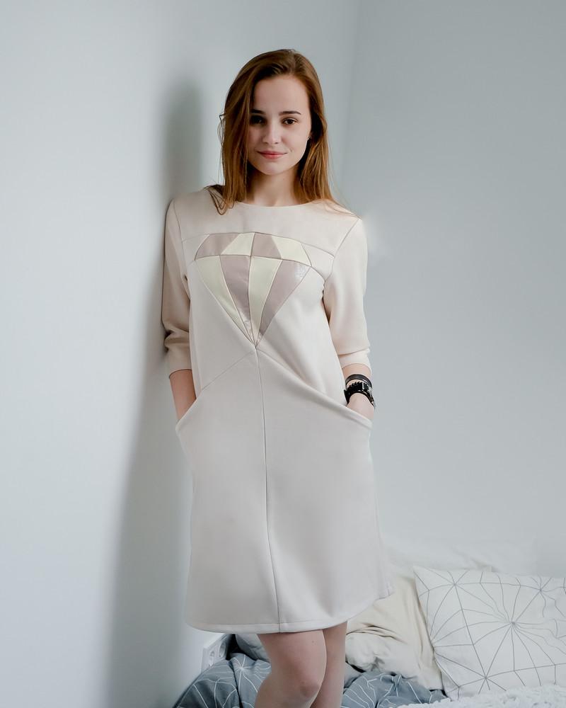 BEIGE DIAMOND SUEDE POCKET DRESS