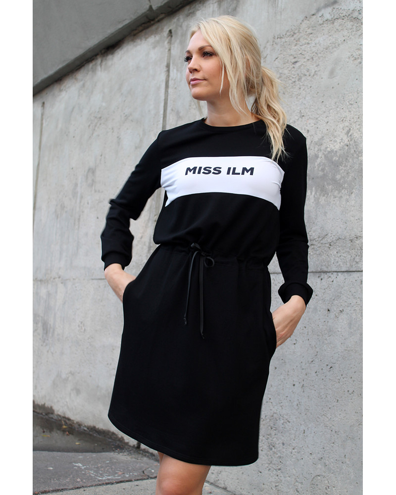 CUSTOM SLOGAN - BLACK JUMPER DRESS