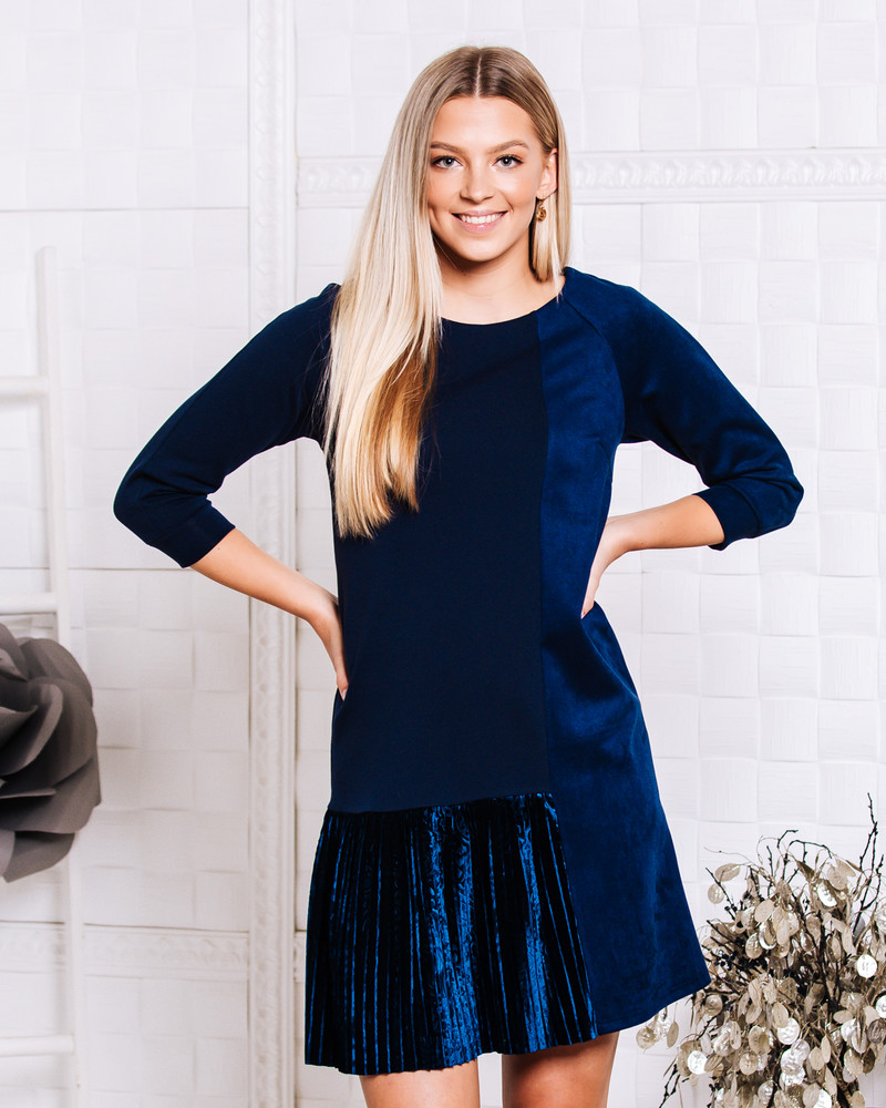 NAVY BLUE TWAIN PLEATED SUEDE DRESS