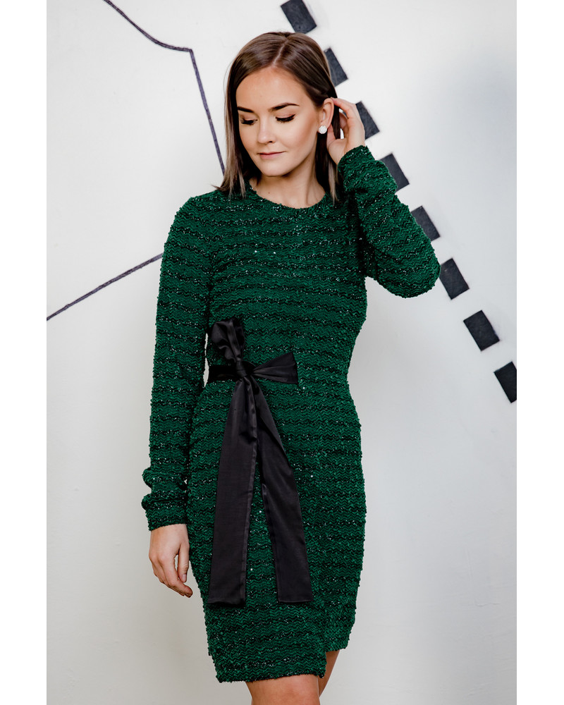 GREEN SHINY COOL CUT DRESS