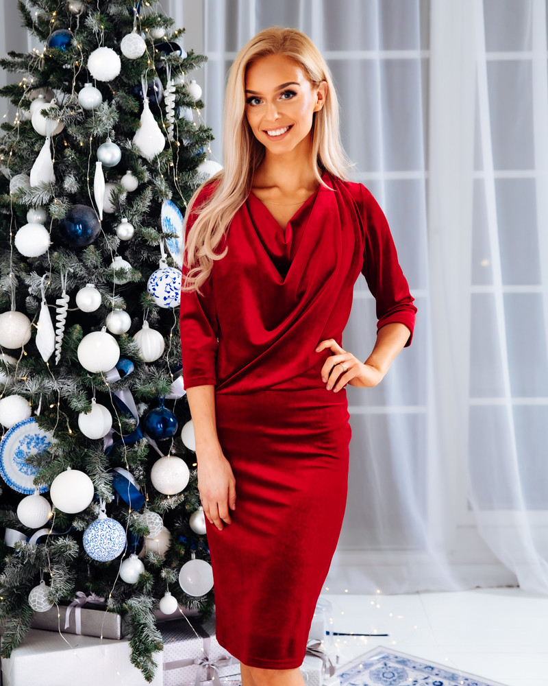 COWL NECK VELVET DRESS RED
