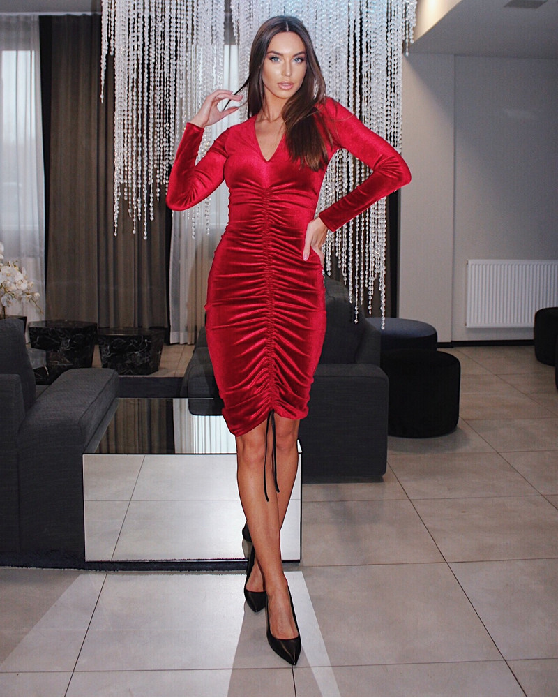 TUNNEL VELVET DRESS RED