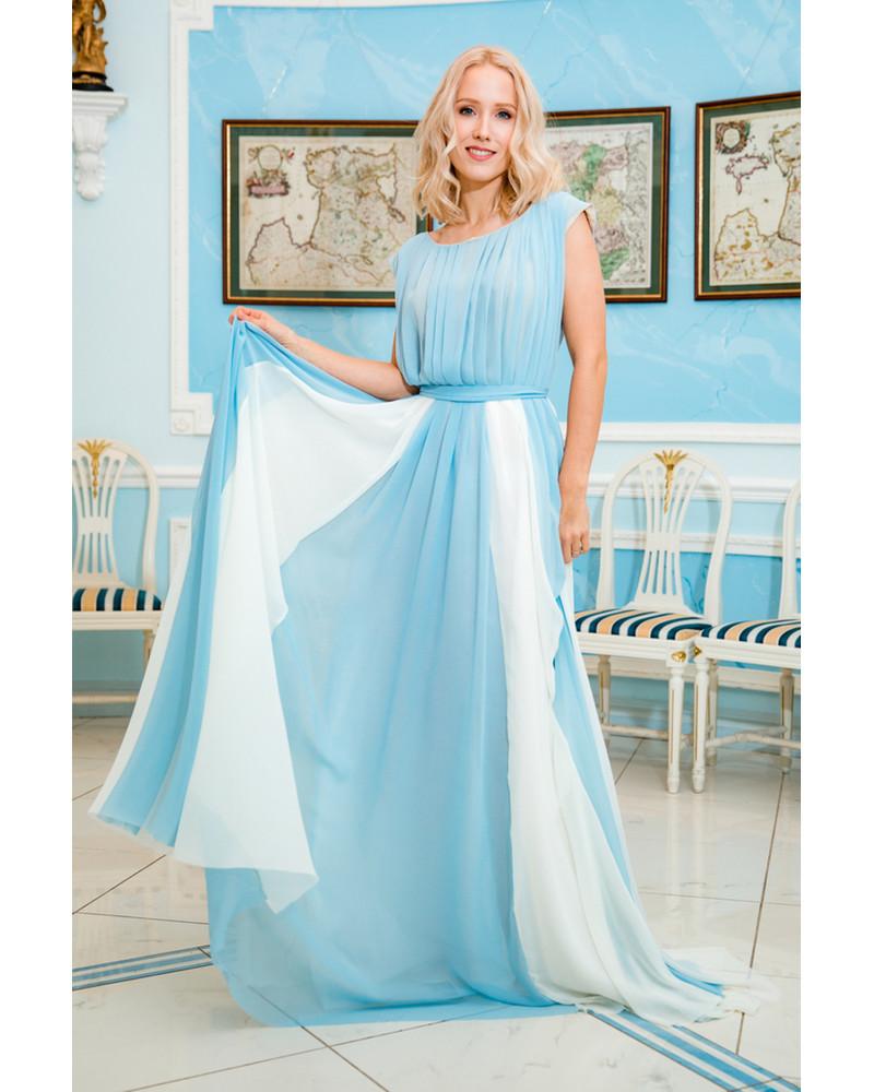 BLUE WHITE DREAMY MAXI DRESS