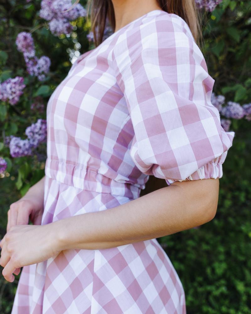 SQUARED PUFF DRESS PINK