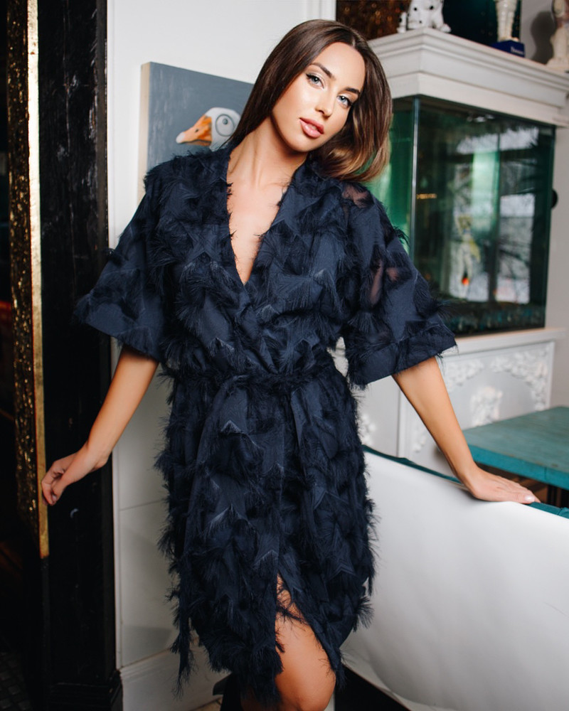 KIMONO FRINGE DRESS NAVY BLUE