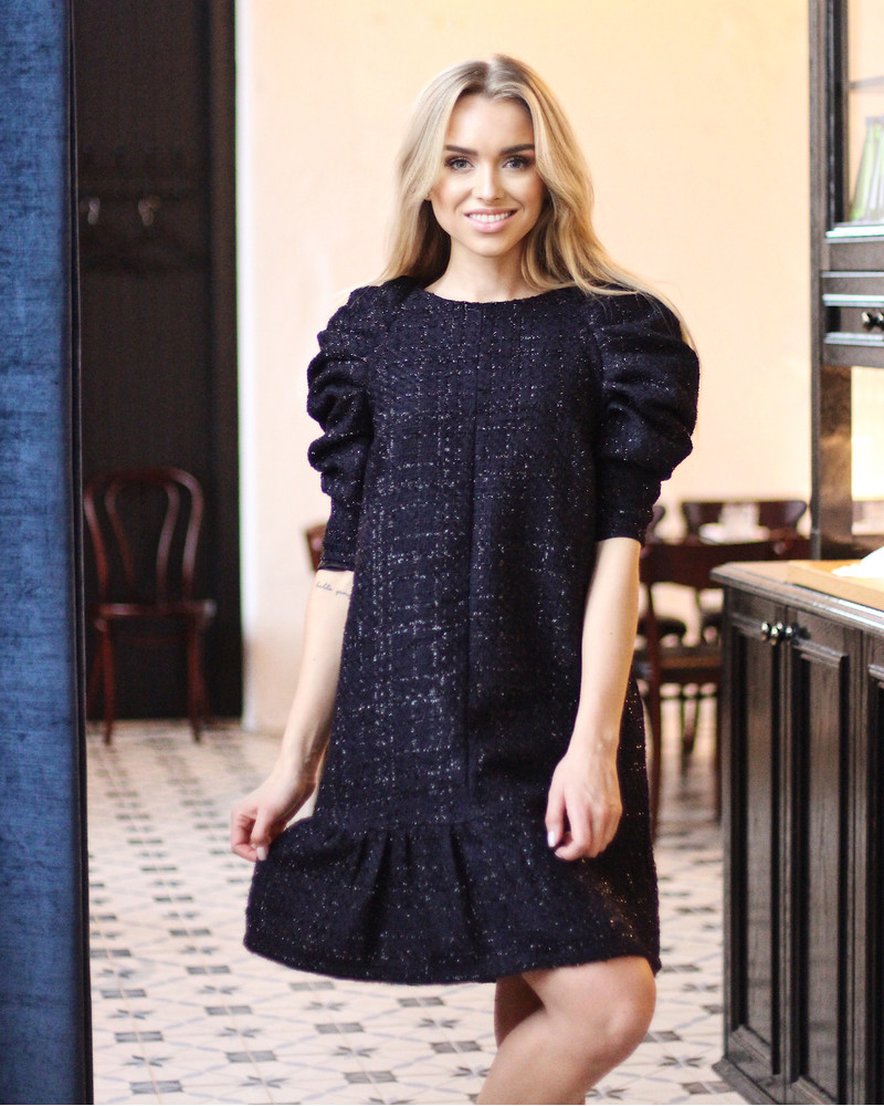 SHINY NAVY RUSHED DRESS