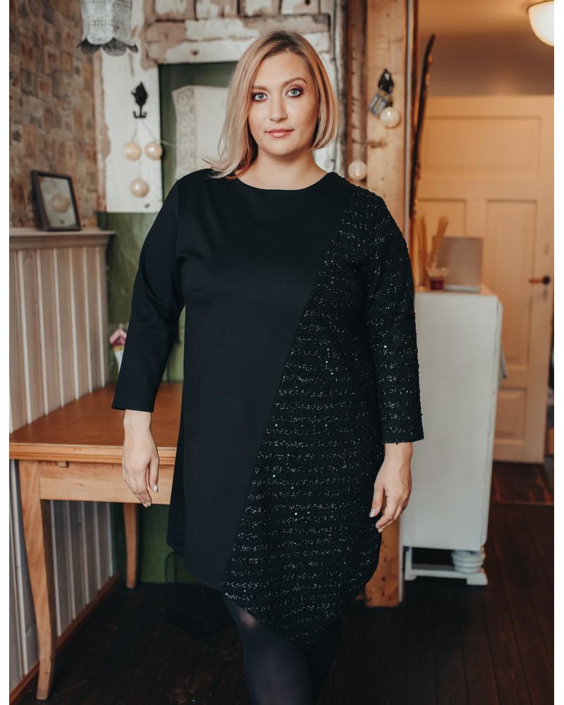 BLACK SHINY DIAGONAL DRESS