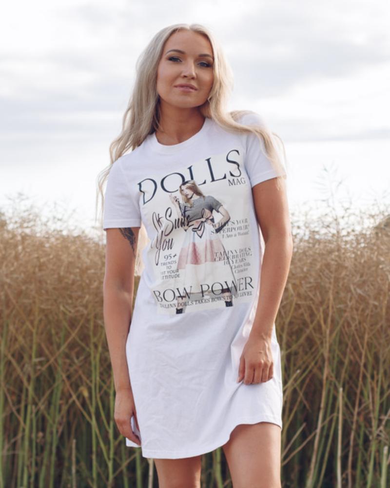 DOLLS MAGAZINE PRINT DRESS WHITE