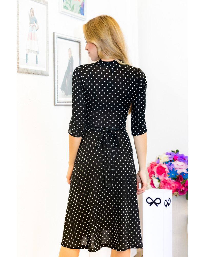 ELEGANT POLKA DOT DRESS BLACK