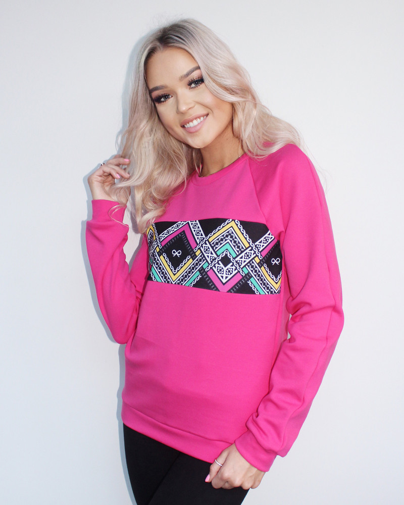 COLORFUL ETHNIC SWEATSHIRT FUCHSIA