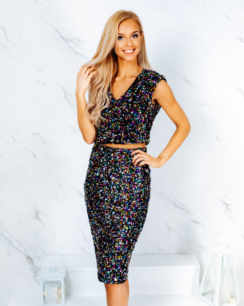 SEQUIN PENCIL SKIRT MULTICOLOR