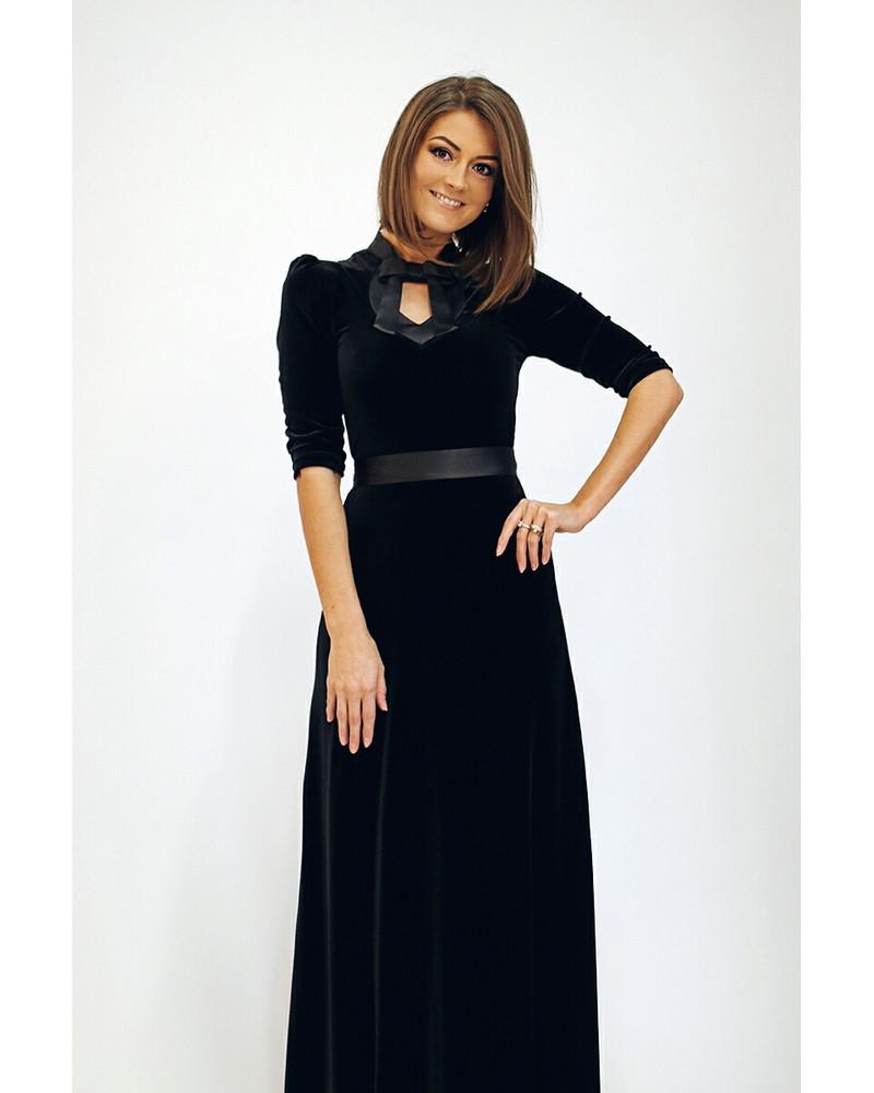BLACK DOLLABLE MAXI DRESS
