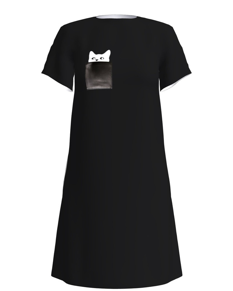 KITTY IN POCKET DRESS BLACK