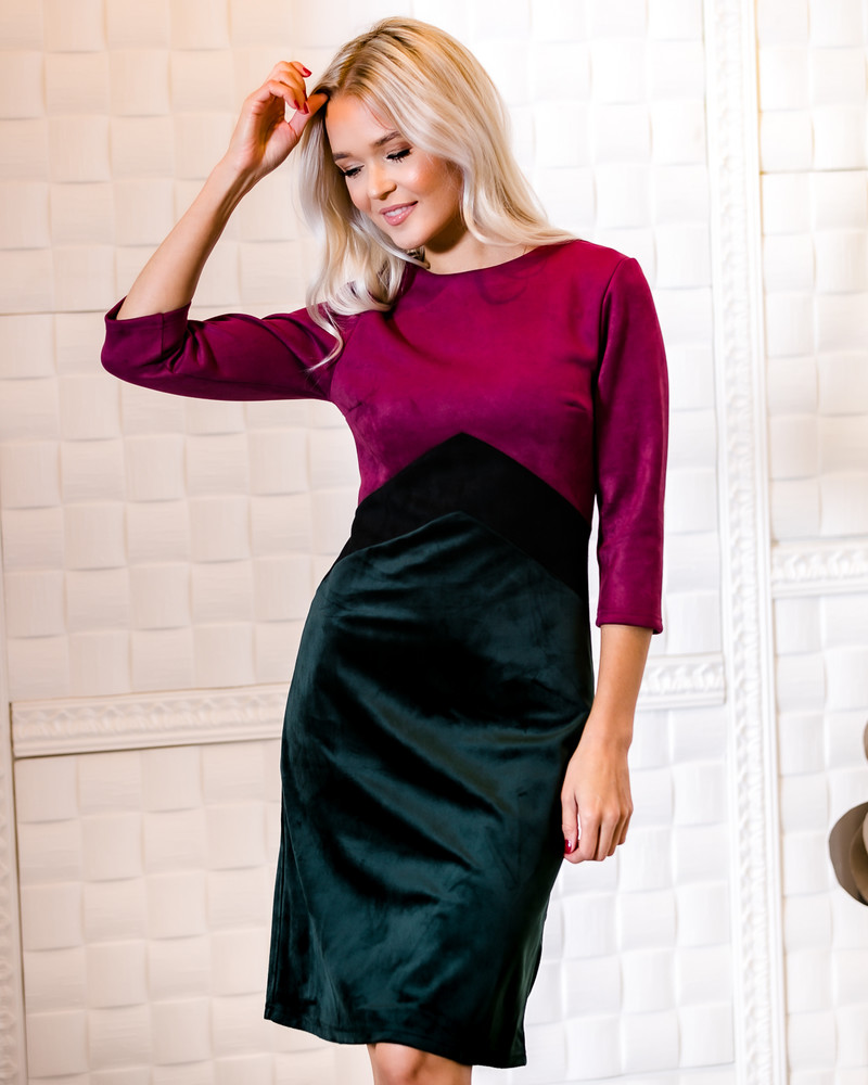TRIO PURPLE-BLACK SUEDE GREEN VELVET DRESS