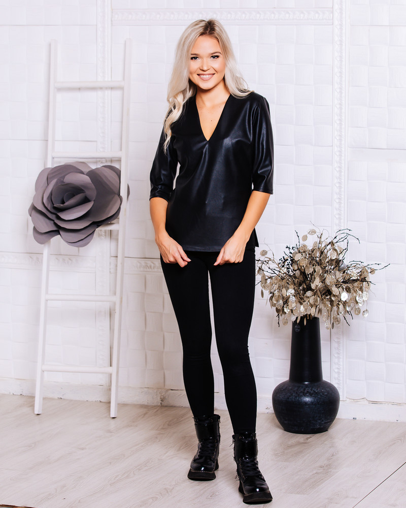 BLACK LEATHER BLOUSE