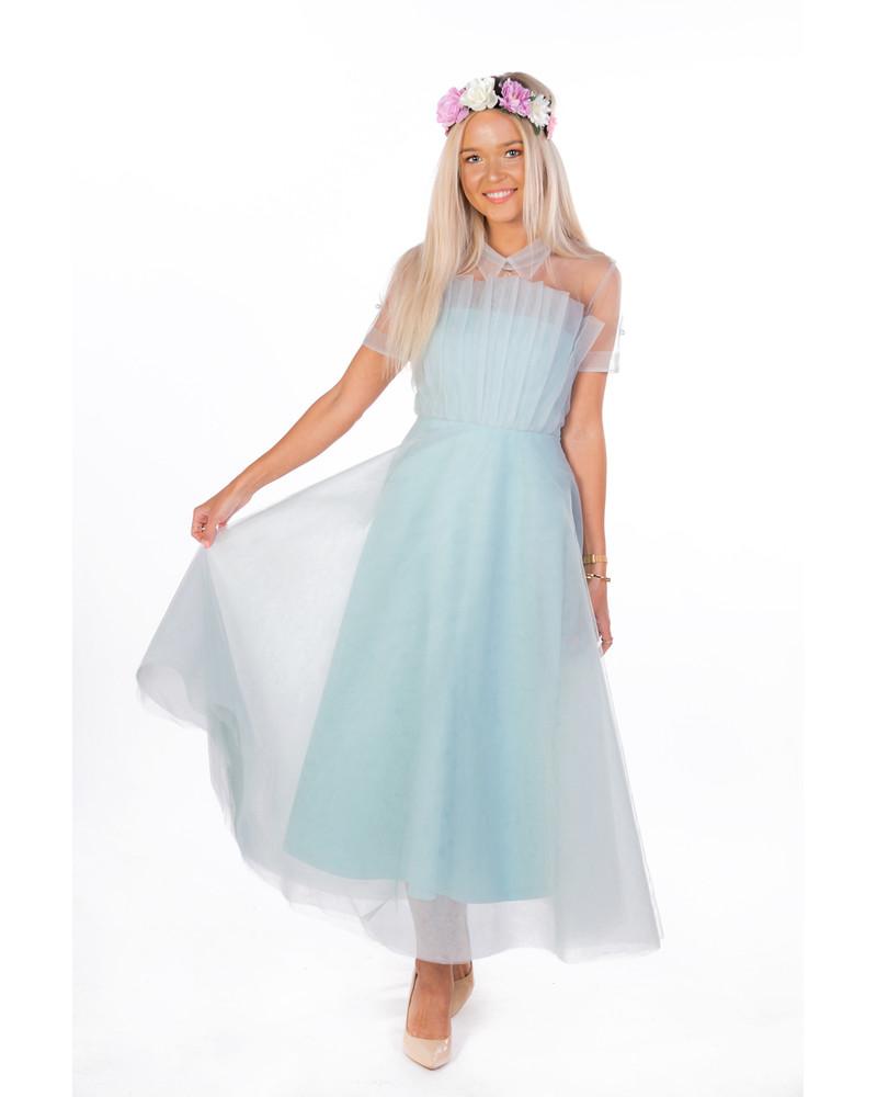 SET ACCORDION DRESS WITH MESH TOP