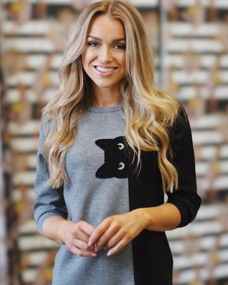 PEEK-A-BOO PRINT CAT GREY BLACK DRESS