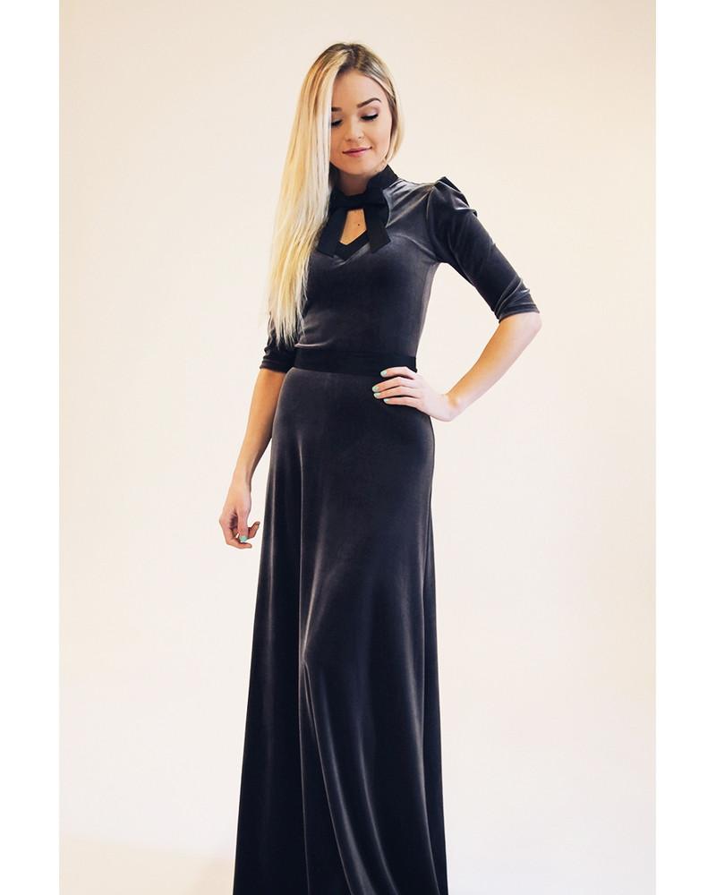 GREY DOLLABLE VELVET MAXI DRESS