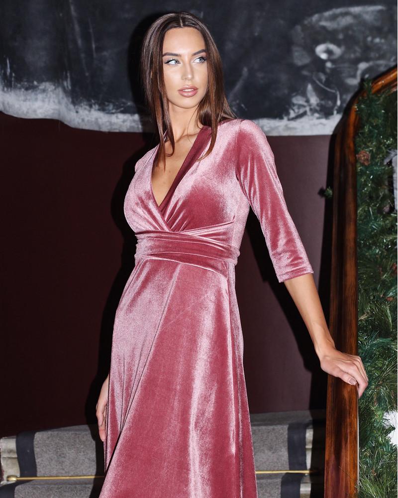 PINK ELEGANT VELVET MAXI DRESS