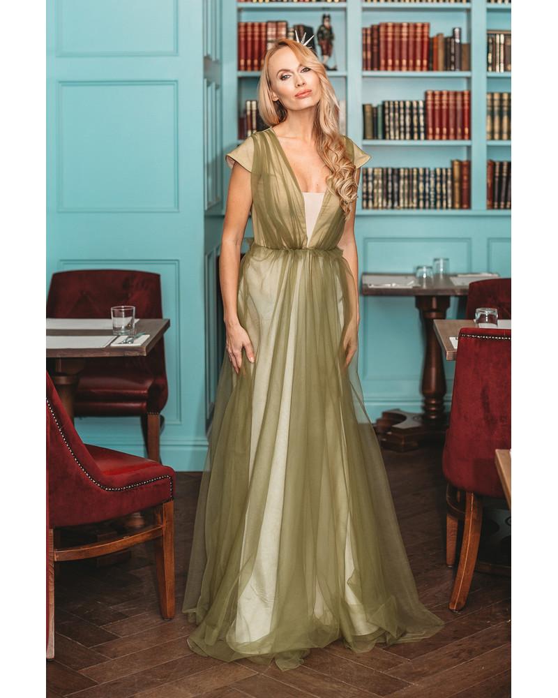 GREEN TULLE MAXI DRESS