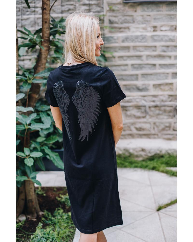 SHINY ANGEL DRESS BLACK