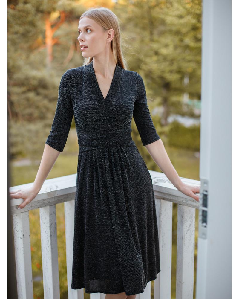 SHINY ELEGANT MIDI DRESS BLACK