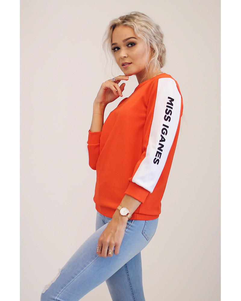 CUSTOM SLOGAN - ORANGE S. SWEATER