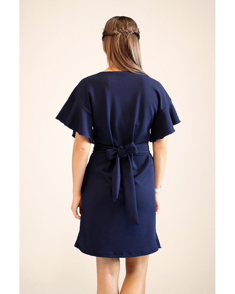 NAVY DIAGONAL FRILL DRESS