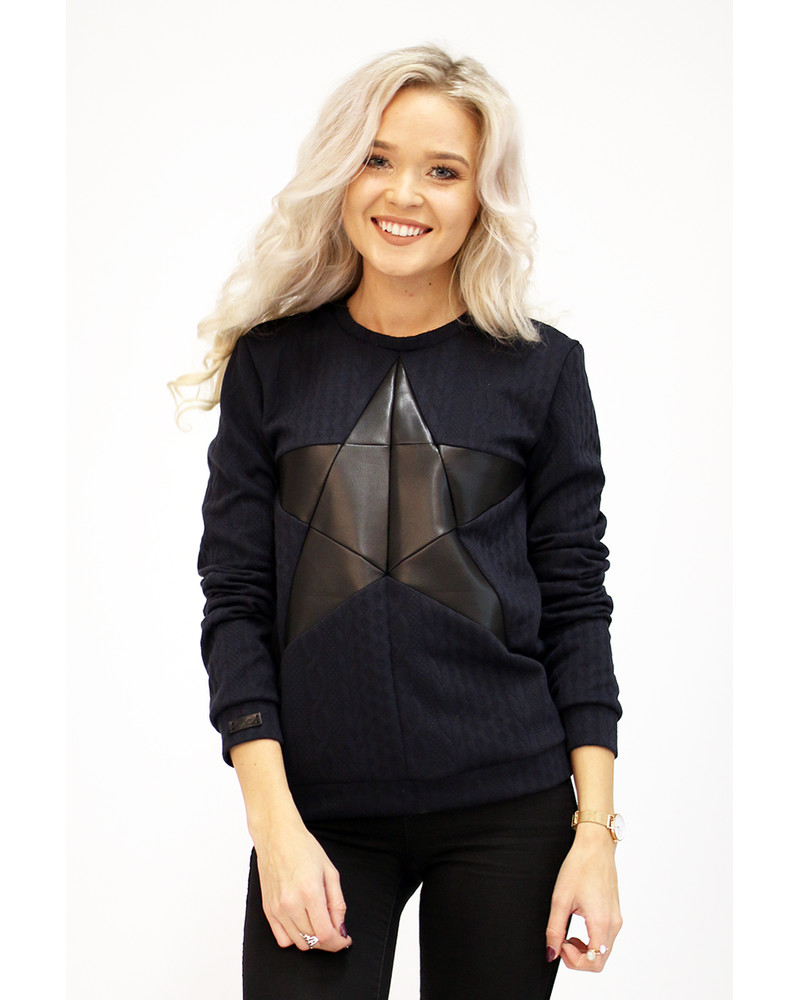 BLACK STAR KNIT NAVY SWEATER