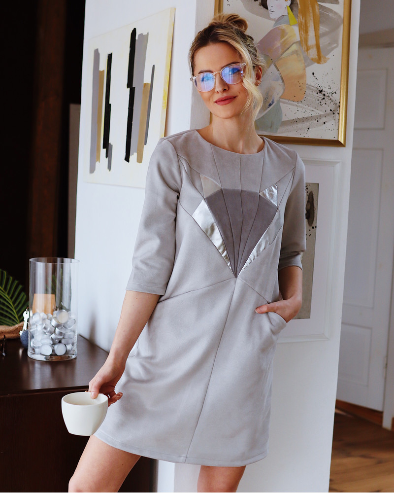 SILVER FOX GREY SUEDE DRESS