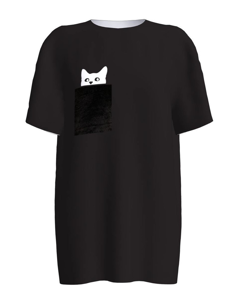 BLACK KITTY PEEK A BOO PRINT T SHIRT