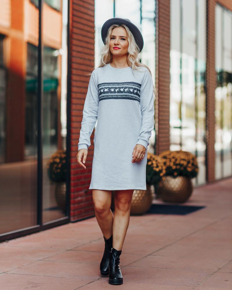 GREY SWALLOW SWEATER DRESS