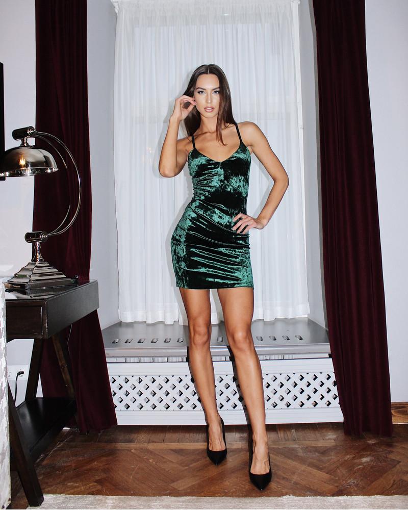 GREEN VELVET STRAP DRESS
