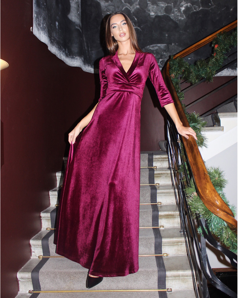 ELEGANT VELVET MAXI DRESS BORDEAUX